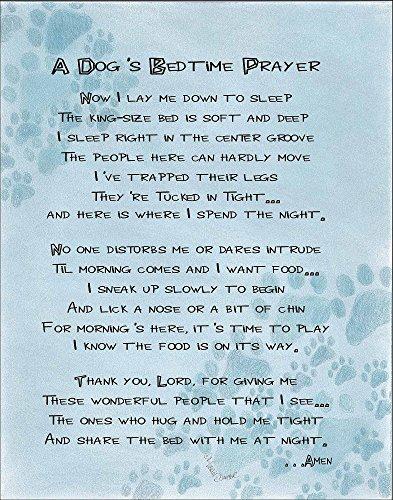 A Dog's Bedtime Prayer 14 x 11 inch Inspirational Decorative Sign Plaque
