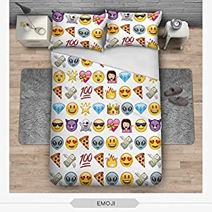 OJIA 3D Prints Beautiful 100% Cotton 3-Piece Creative Funny EMOJI Bedding Sets 1x Duvet Cover and 2x Pillow Covers Twin Size