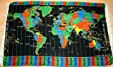 Black World Time Zone Map on Cloth- with Standard Time Zones offset from Coordinated Universal Time (UTC) displaying 74 Worldwide Cities / Locations.