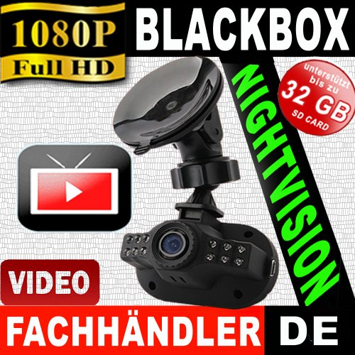 Full-HD Auto/KFZ BlackBox Kamera-Hochgeschwindigkeitskamera PKW/LKW 12V/24V + 8GB SD Karte GRATIS ! Car-Camera-Recorder INKL. G-Sensor, SOS Taste + Nachtsicht 12 LED's + Bewegungssensor + Farbbildschirm 1,5 TFT LCD Display/Unfalldatenschreiber/Überwachungskamera Video/Audio DVR