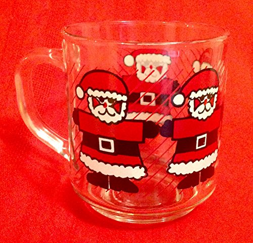 Vintage Luminarc Glass Santa Claus Cup Christmas Mug Coffee Hot Chocolate (Luminarc Coffee Cup compare prices)