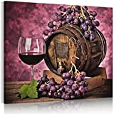 1PIECES (Unstretched, Canvas only) Oil Paintings HD on Canvas Wall Decoration Retro Wine barrels red wine cellar wineglass
