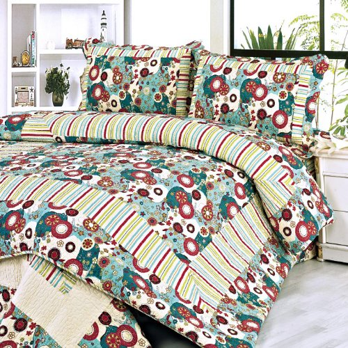 [Dianthe] 100% Cotton 3PC Floral Vermicelli-Quilted Patchwork Quilt Set (Full/Queen Size)