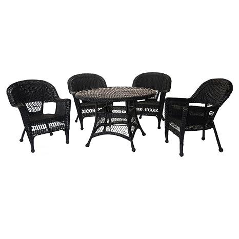 Jeco 5pc Wicker Dining Set in Black