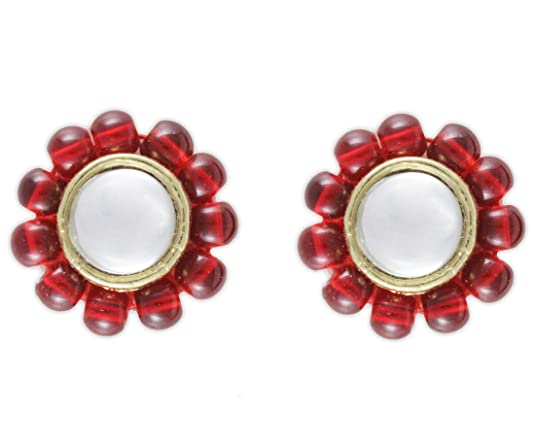 Red Kundan Studs at amazon