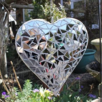 We are proud to present the Hanging Silver Mirror Mosaic Heart Ornament For The Garden Or Home