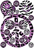 61ltHlMiPAL. SL160  Sixties Theme Purple Leopard / Cheetah and Zebra Print Peace Sign Wall Decals / Stickers