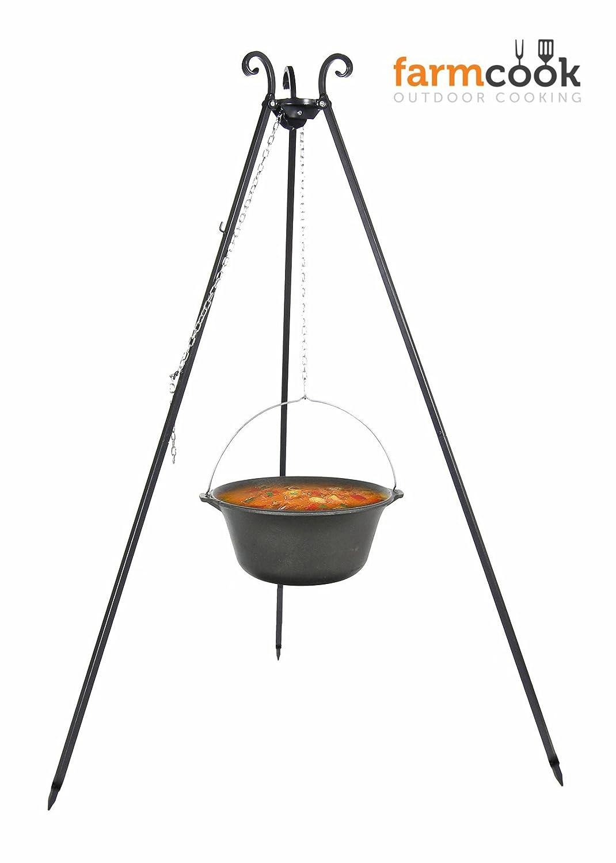 Farmcook Schwenkgrill – Dreibein Grill mit Gusseisenkessel in 3 Größen (Dreibein 180 cm – 13 Liter Kessel) günstig bestellen
