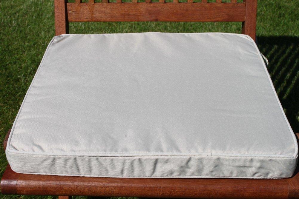 Gartenmöbel-Auflage - Sitzkissen für Klappstuhl in Hellbeige