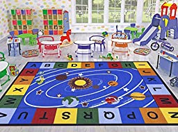 Ottomanson Jenny Collection Blue Base with Multi Colors Kids Children\'s Educational Our Solar System Design Area Classroom Rugs, Light Blue, 5\' x 6\'6\