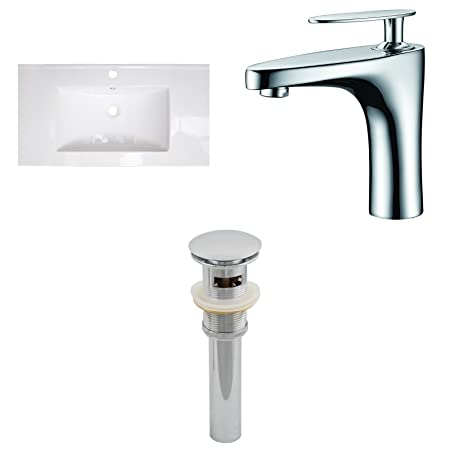 "Jade Bath JB-16567 36"" W x 20"" D Ceramic Top Set with Single Hole CUPC Faucet and Drain, White"