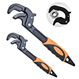Boeray 2 Pack Adjustable Wrench Quick Multi-function Self-Adjusting Spanner Power Grip Pipe Wrench 0.6