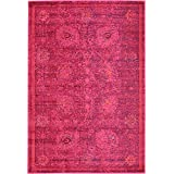 Modern Traditional 4-Feet by 6-Feet (4' x 6') Barcelona Red Contemporary Area Rug