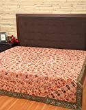 King Size Bedspreads Cotton Peach Embroidered Elephant Double Bedsheets By Rajrang
