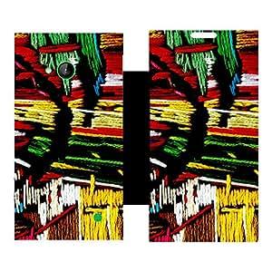 Skintice Designer Flip Cover with Vinyl wrap-around for Nokia Lumia 730, Design - Colorful lines