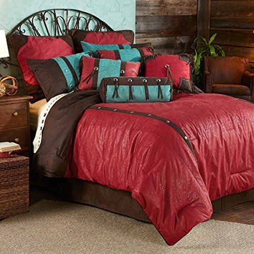 """""""HiEnd Accents Red Cheyenne Comforter Set, Super King by HomeMax Imports"""""""