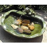Smart Solar Ceramic Frog Fountain (Green)