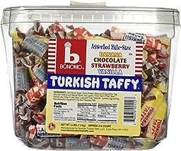 Bonomo Turkish Taffy Assorted Twists Bulk Tub, 216 Count Net Weight 3 lbs ( 1.4 kg )
