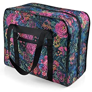 Distinctive Small Floral Pattern Premium Sewing Machine Tote Bag For 34 Sewing Machines Such As Janome Jem Series And Singer Featherweight Series by Distinctive