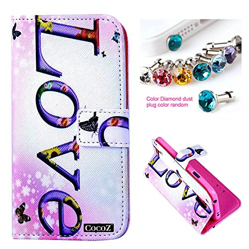 Cocoz® Samsung Galaxy S5 I9600 Case_1 Beautiful Love Design Pu Leather Wallet Type Flip Case Cover With Credit Card Holder Slots Case For Samsung Galaxy S5 Release On 2014 (Love)