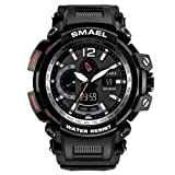 SMAEL Men's Sport Watch Quartz Movement with Analog-Digital Dual Time Display and Backlight Watches for Men (Color: Black)
