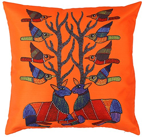 SouvNear 18 x 18 Inch Orange Throw Pillow Cover - Birds & Deer with Antlers Cushion Cover with Hidden Zipper for Couch, Sofa, Rocking Chair & Bed - Square Pillow Case for Living & Family Room - Summer sale