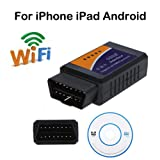 Car WIFI OBD 2 ELM327 Scanner, Wireless OBD2 Car Code Reader Scan Tool,Scanner Adapter Check Engine Diagnostic Tool for iOS Apple iPhone iPad Air Mini iPod Touch & Andorid