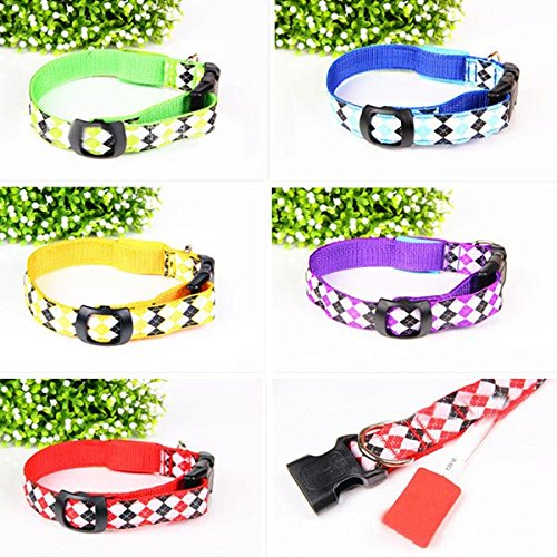 (Size:S/Color:Red) Adjustable Colorful Diamond Pattern Pet Led Nylon Night Safety Collar With Headband & Usb Light