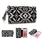 Kroo Cellphone Carrying Wristlet Case with Credit Card Holder fits for Alcatel Pop D1/Fire C 2G/One Touch Pixi 2/M'Pop 5020D/Star 6010D/OT-990/OT-992D/OT-991D/Tribe 3040D unlocked in Black ¨C White
