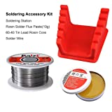 Crazepony Soldering Accessory Kit, 60-40 Tin Lead Rosin Core Solder Wire+Rosin Solder Flux Paste(10g)+Fixing Base Soldering Station for Electrical and DIY (Color: Solder Wire)