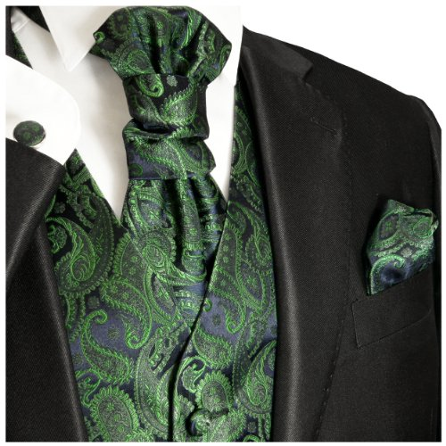 Paul Malone wedding waistcoat Set green 5pcs tuxedo vest + Neck Tie + Plastron + Hanky + 2 cufflinks