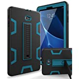 Samsung Galaxy Tab A 10.1 Case,XIQI Three Layer Hybrid Rugged Heavy Duty Shockproof Anti-Slip Case Full Body Protection Cover for Tab A 10 inch(SM-T580),Black/Bule (Color: Black Blue)