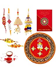 Ethnic Rakhi Designer Floral Pattern Multi-Color Fashionable And Stylish Mauli Thread And Beads Rakhi And Traditional...