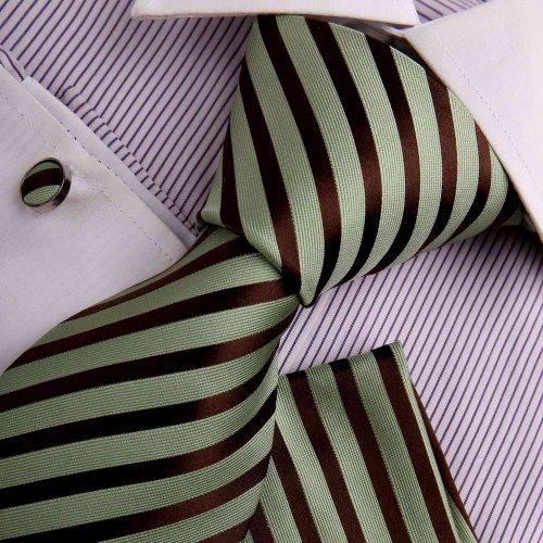 Green mens ties youth dress shirt olive drab Stripes Woven Silk Tie Hanky Cufflinks Gift Box Set Y&G Mens necktie Set H7034