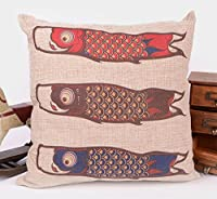 "Yecz Cotton Linen Square Decorative Retro Throw Pillow Case Vintage Cushion Cover Whale and Bird Friend 18 ""X18 "" by buoluo"