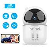 Wireless IP Camera - Senzi Security Camera 1080P Baby Monitor Pet Smart Auto Tracking Night Vision Motion Sound Detection 2.4GHz WiFi Pan Tilt Zoom Surveillance Camera Two-Way Audio Cloud Service (Color: White)