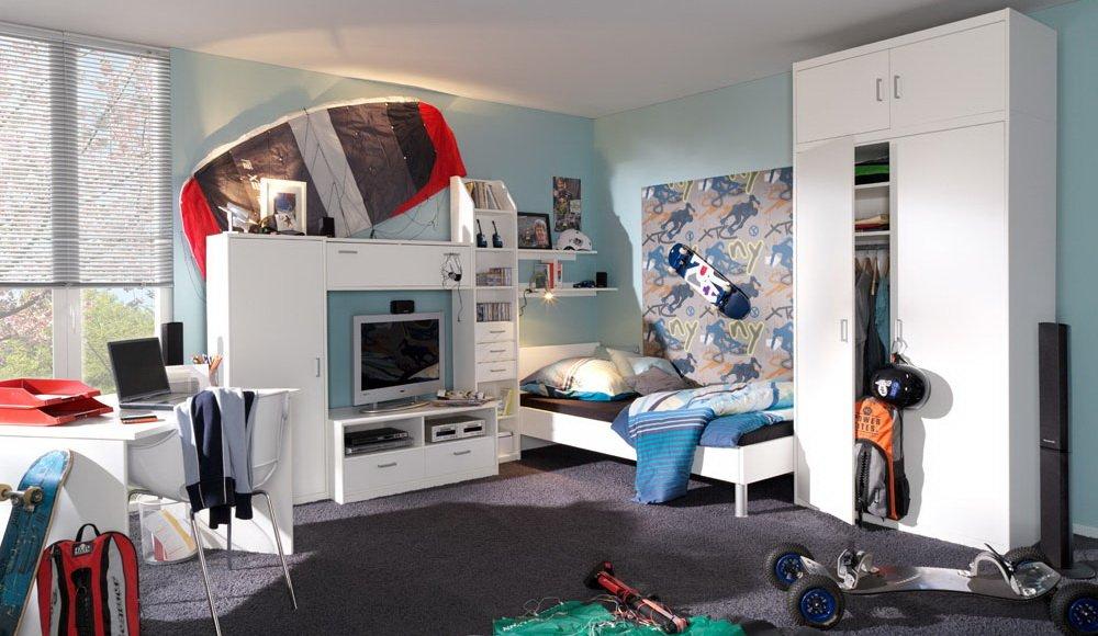 4-tlg. Jugendzimmer in weiß, Kleiderschrank mit Aufsatz B: ca. 106 cm, Bett 90 x 200 cm Liegefläche, Schreibtisch B: 106 cm, Soft Plus von CS Schmal