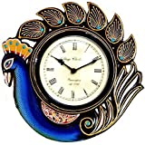 Purpledip Peacock Blue Wall Clock For Living Room 12X12 Inch