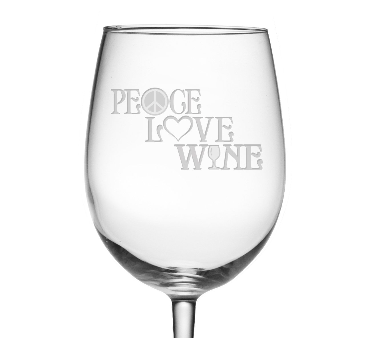 Peace, Love & Wine Etched Wine Glass – Great Wine Gift, Birthday Gift for Her – Peace Symbol, Heart, Wine Glass Design – Perfect Anniversary or Housewarming Gift – Wedding, Bridesmaid and Bridal Shower Gift