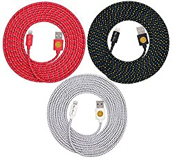NEWLY Designed High Quality, 10ft(3m) Braided Nylon Lightning Charging Cables for Apple iPhone 5 5C 5S,iPhone 6, 6 Plus, iPad 4 Mini, iPod Touch 5/Nano 7, 8 pin to USB - 3pack (black/red/white)