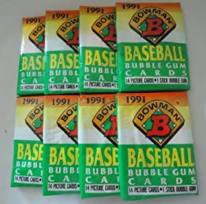 Super Deal! 8 Original, Un-opened Packs of 1991 BOWMAN Baseball Cards. Look for the... by Bowman