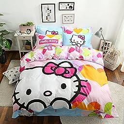 CASA Children 100% cotton series Hello Kitty Duvet cover & Pillow case & Flat sheet,3 Pieces,Twin