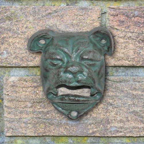 Gardens2you - Apribottiglie in ferro per la casa o il giardino a forma di testa di cane, montabile a muro, colore verde grigio