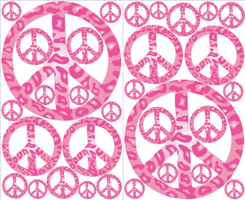 Pink Leopard Print Peace Sign Wall Decals Stickers Decor