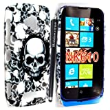 MOBILEEXTRALTD® For Nokia Lumia 610 Grey Skull Head Printed Hard Protected Case Cover +Stylus