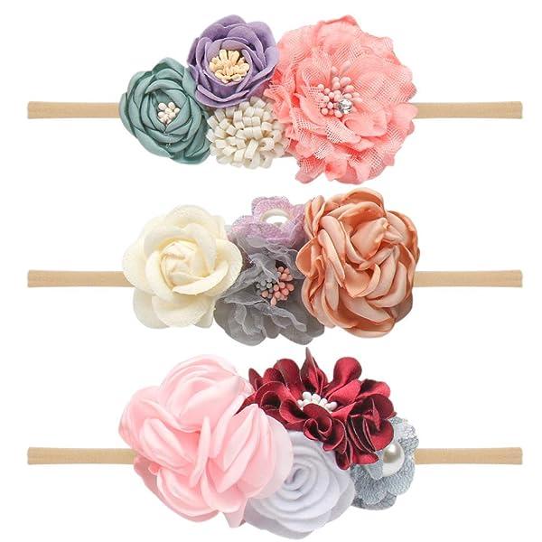 CN Baby Girls Floral Headbands Nylon Flowers Crown Hair Bow Elastic Bands
