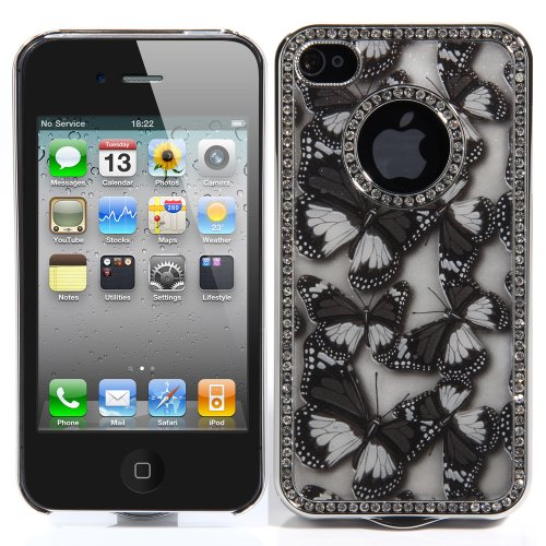 ATC Deluxe Black TPU Chrome Diamond Glitter Bling Butterfly Hard Back Case Cover Coat For iPhone 4 4G 4S & Screen Protectors/Guard