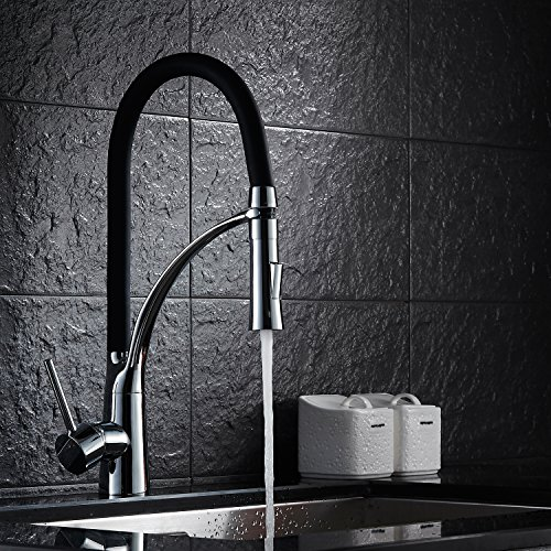 LightInTheBox Contemporary Pull-out/­Pull-down Centerset Pullout Spray with Ceramic Valve Single Handle One Hole for Chrome , Kitchen faucet (Delta Kitchen Faucet Three Hole compare prices)