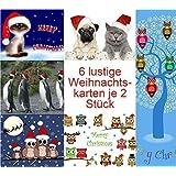 """Weihnachtskarten-Set lustig (12 Karten) mit Katzen, Eulen und Möpsen: """"LUSTIGE WEIHNACHTEN"""" - witzige und originelle Grusskarten zu Weihnachten mit Tieren"""