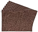 Zubix Printed Reversible Place Mats (Set of 6) - Brown